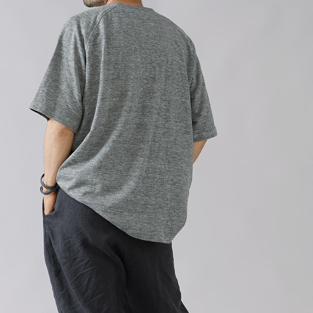 【6/17 20時00分~ 販売開始!!!】【wafuオリジナル】【早割】リネン混 半袖Tシャツ ビッグTシャツ 胸ポケット付き/杢グレー t020f-mgr2