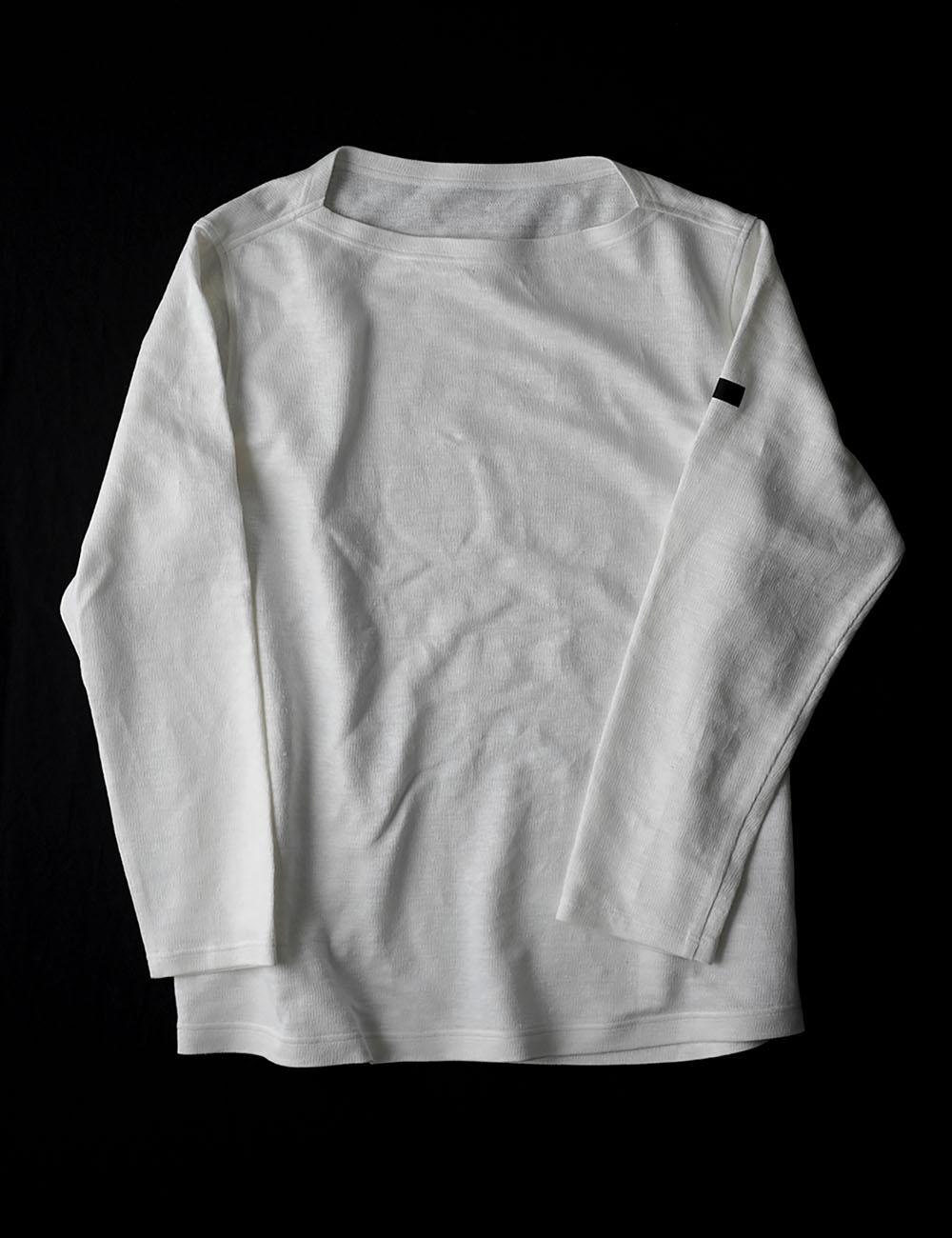 【wafuオリジナル】【早割】唯一無二のリネン100% 編み地 ボートネックT 縮むのでその分大きくしています。 /ホワイト t020i-wht3