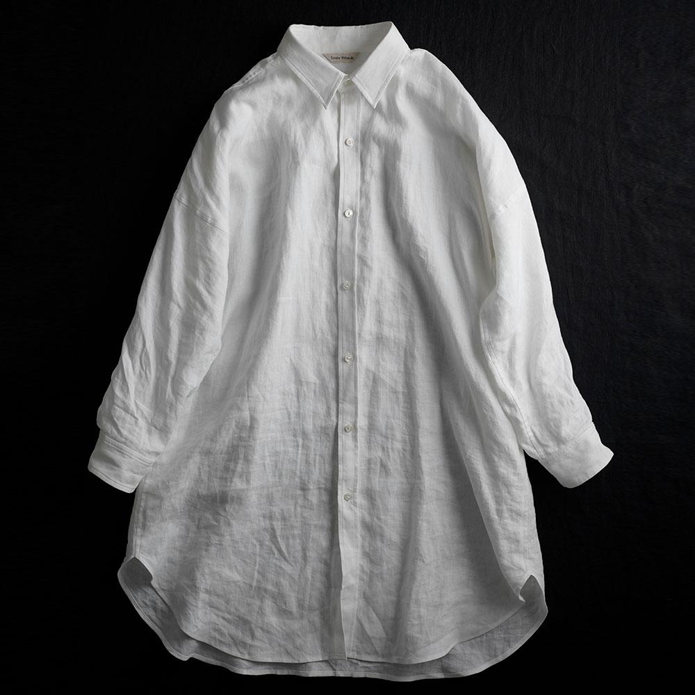やや薄手リネン メンズライクシャツ ビッグシャツ リネンシャツ タック入りカフス袖 前ボタン 前開き ポケット付 長袖 ロング丈 羽織/ホワイト【free】t021a-wht1