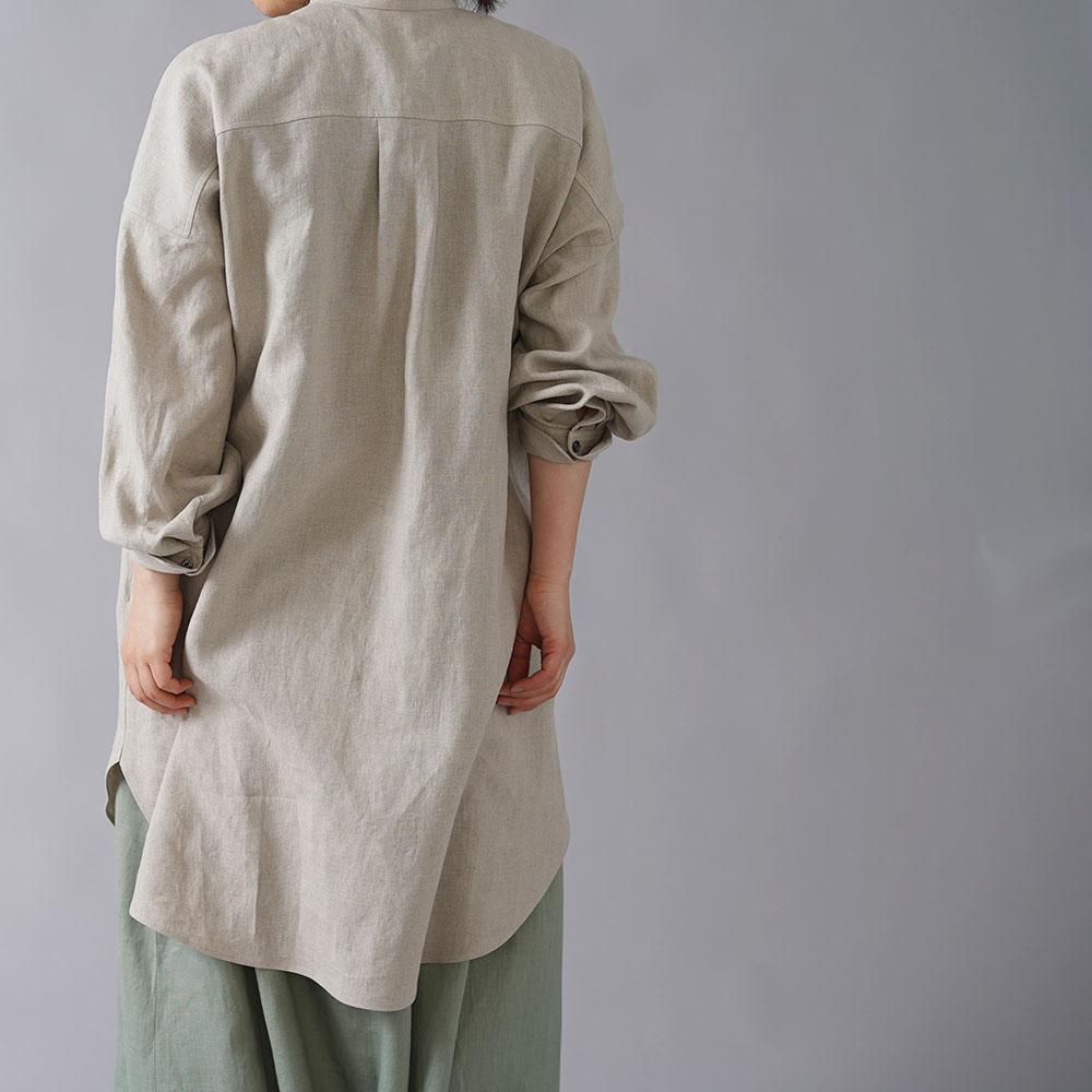 【wafu】 リネン  オーバーシャツ メンズライク シャツ ダブルカフス やや薄手/亜麻ナチュラル t021b-amn1