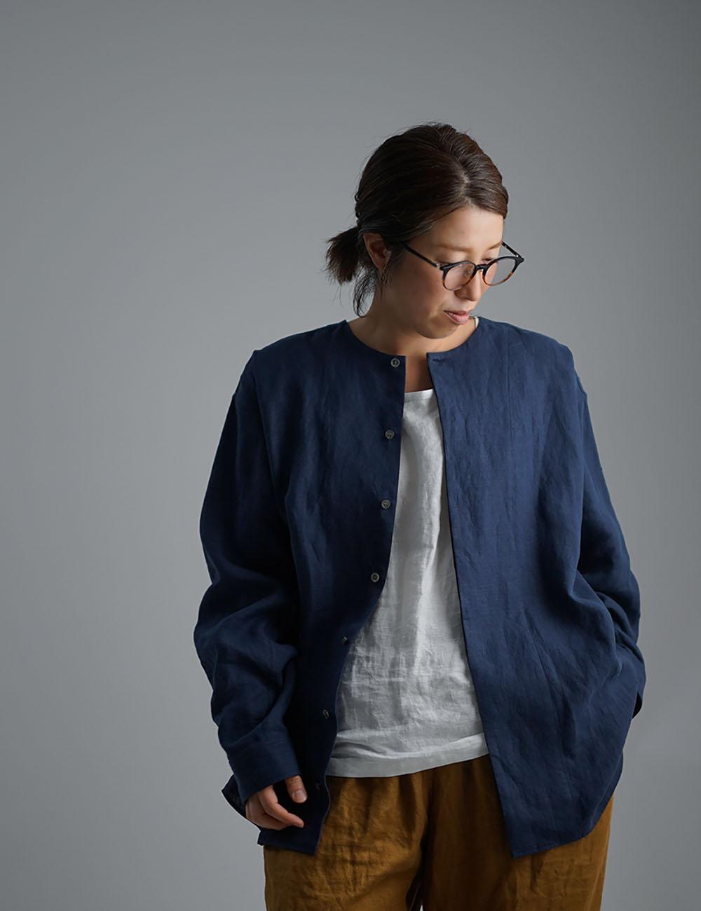 【wafu】Oversized Linen shirt 比翼ビックシャツ 男女兼用 / 留紺(とめこん) t021e-tmk1