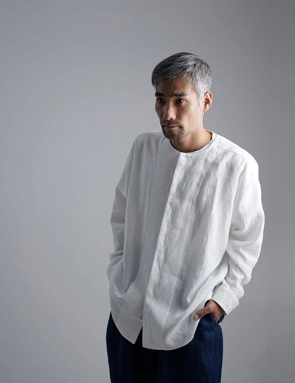 【wafu】Oversized Linen shirt 比翼ビックシャツ 男女兼用 / 白色 t021e-wht1