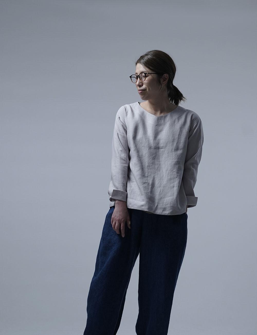 【wafu】Linen Top ブラウジング トップス / 灰桜(はいざくら) t025h-hzk1