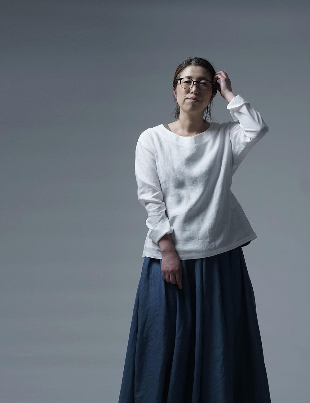 【wafu】Linen Top ブラウジング トップス / 白色 t025h-wht1
