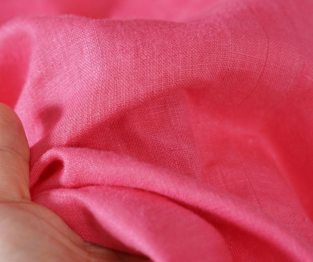 中厚 リネン ブラウス ふわり ランタンスリーブ スタンドカラー チュニック トップス / パリスピンク【M-L】t029b-ppk2