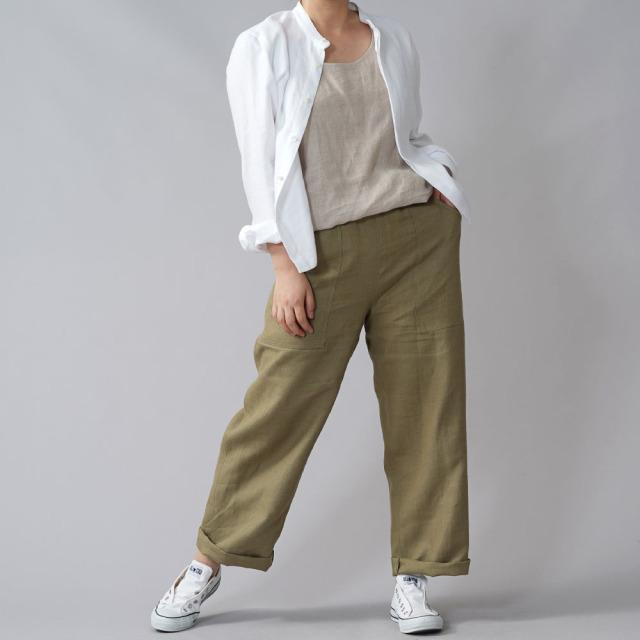 【wafu premium linen】丈短め 比翼仕立て スタンドカラーシャツ wafu史上最高の上質リネン プレミアム リネン/ホワイト【M-L】t030a-wht2