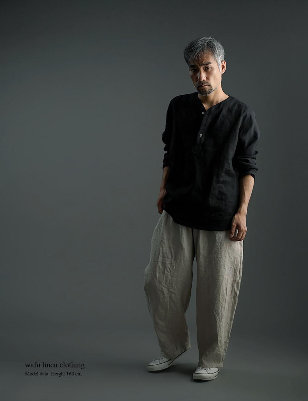 【wafu】Linen Shirt スリーピングシャツ 男女兼用 / 黒色 t030c-bck1