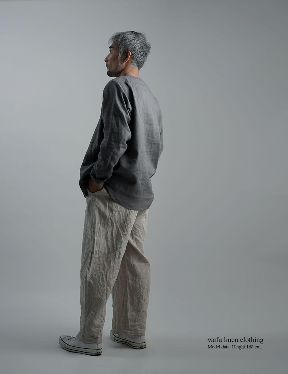 【wafu】Linen Shirt スリーピングシャツ 男女兼用 / 鈍色(にびいろ) t030c-nib1