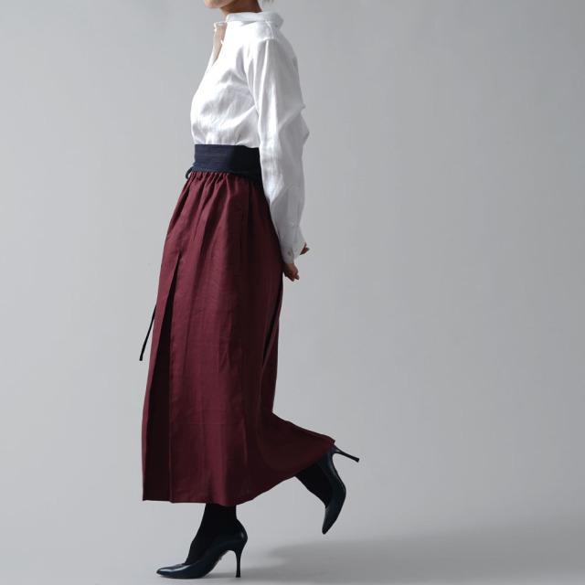 【wafu premium linen】丈短め wafu史上最高の上質リネンシャツ セットインスリーブ プレミアム リネン リネン100%シャツ/ホワイト【L】t031a-wht2