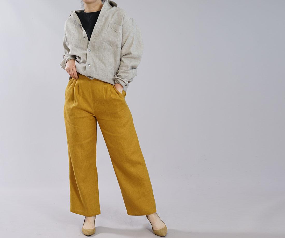 【wafu】メンズ仕様 本格 中厚 リネンシャツ カッタウェイ シンプルシャツ 長袖 シャツ 前開きシャツ 胸ポケット / 亜麻ナチュラル【M/L】t032g-amn2