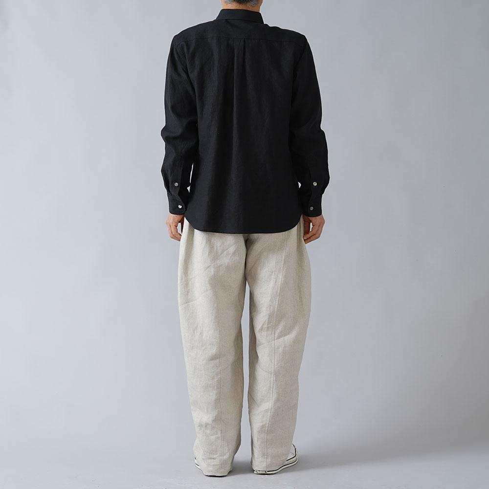 【wafu】超高密度リネン メンズ ピンタックシャツ やや薄地 60番/ブラック t032k-bck1-m