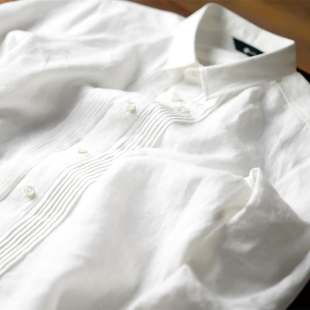 【wafu】やや薄 国内織り高密度リネン ピンタック シャツ /ホワイト【S/M/L】t032k-wht1-m