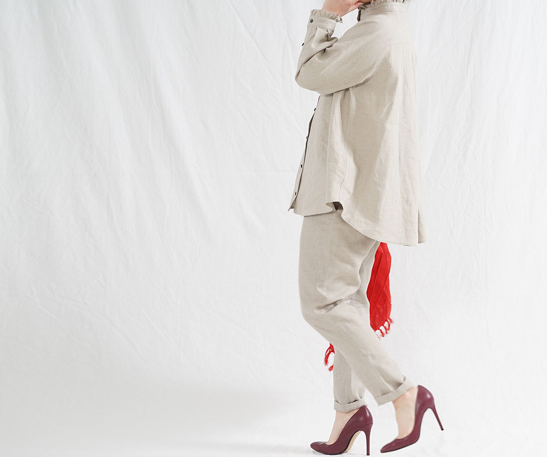 中厚 リネン ピンタック フリル シャツ ブラウス フェミニン ラグランスリーブ 長袖 トップス/亜麻ナチュラル【free】t033a-amn2