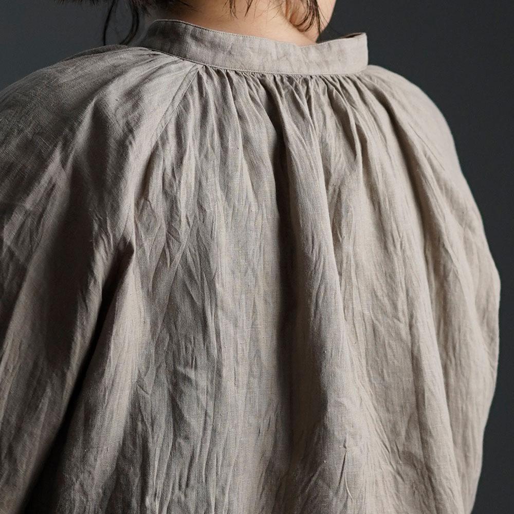 【wafu】雅亜麻 linen shirt リネンシャツ 60番手 ハンドワッシャー / 榛色(はしばみいろ) t034a-hbm1