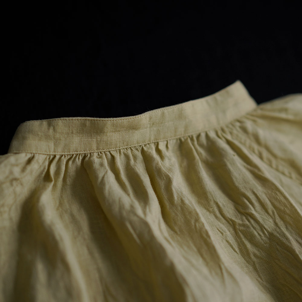 【wafu】 雅亜麻 linen shirt リネンシャツ 薄地 60番手 ハンドワッシャー / 金糸雀色(かなりあいろ) t034a-kou1