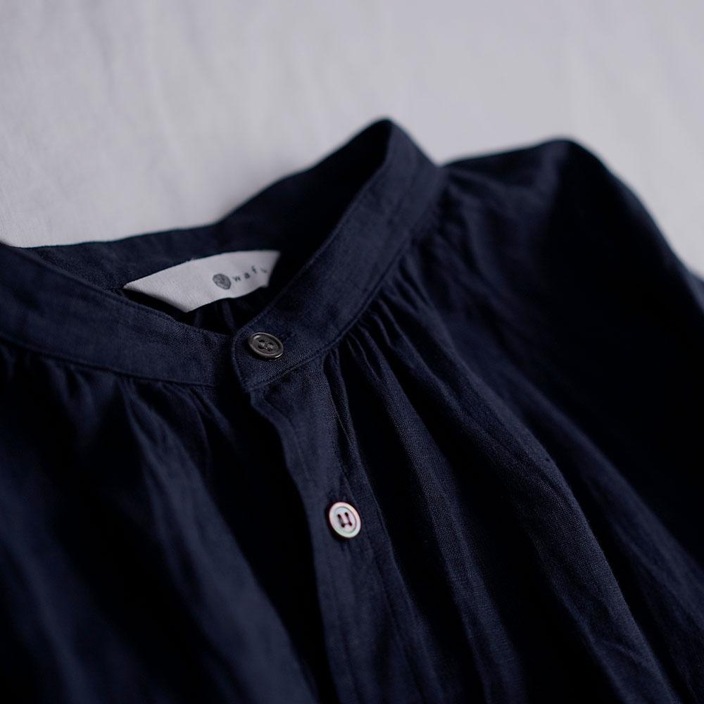 【wafu】 雅亜麻 linen shirt リネンシャツ 薄地 60番手 ハンドワッシャー /紺青(こんじょう) t034a-kju1