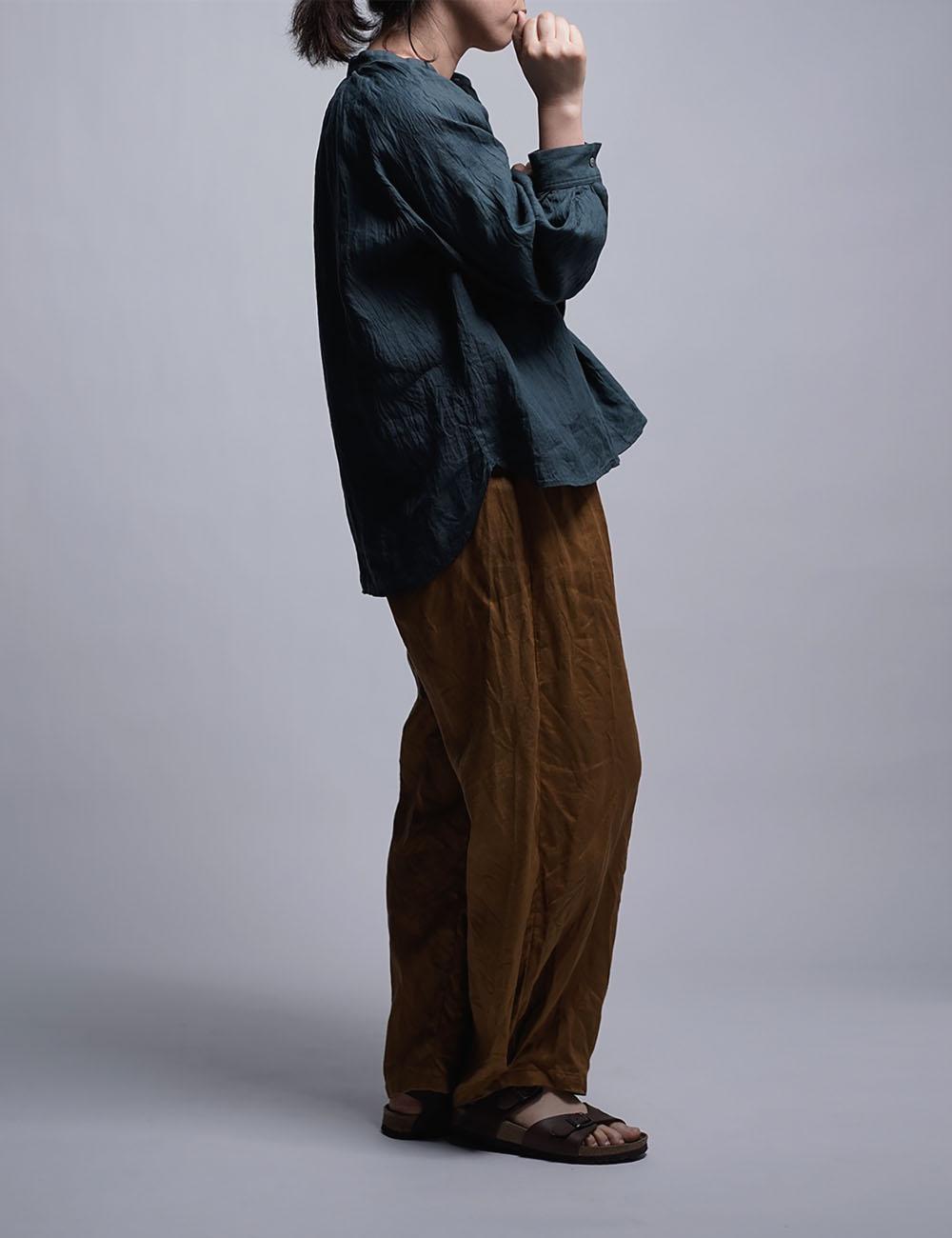【wafu】 雅亜麻 linen shirt リネンシャツ 薄地 60番手 ハンドワッシャー / 金高麗納戸(こうらいなんど) t034a-kou1