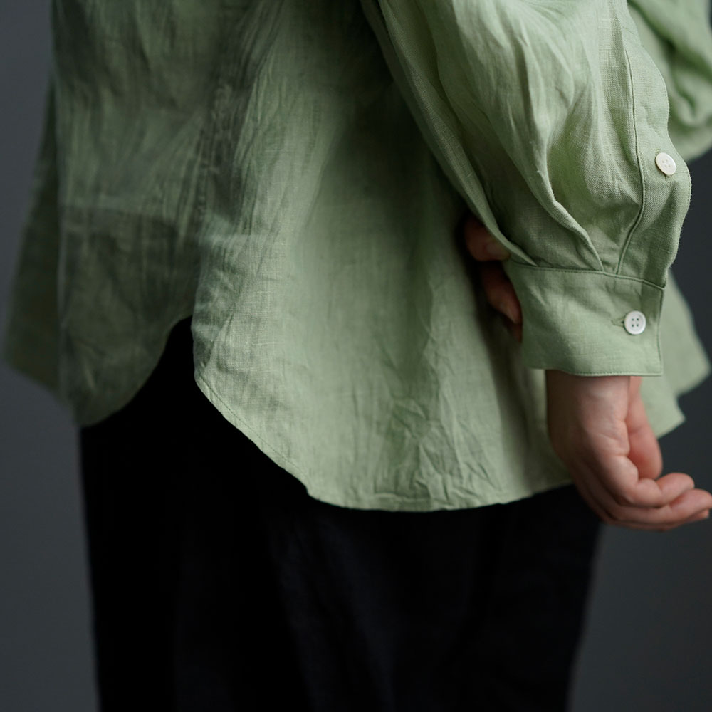 【wafu】雅亜麻 linen shirt リネンシャツ 60番手 ハンドワッシャー / 萌黄(もえぎ) t034a-meg1