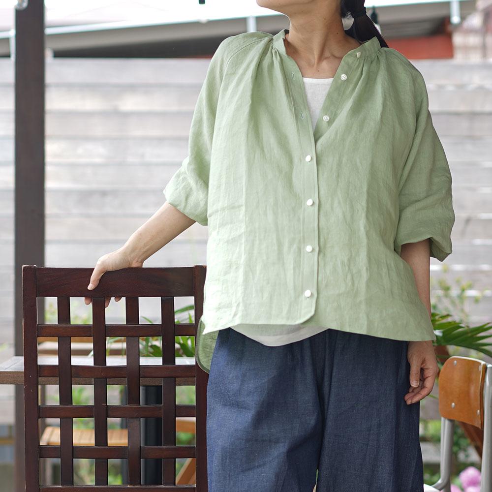 【wafu 生地販売】ふわっと清々しい肌触り リネン100% 雅亜麻 60番手 薄手 110cm幅/萌黄(もえぎ)