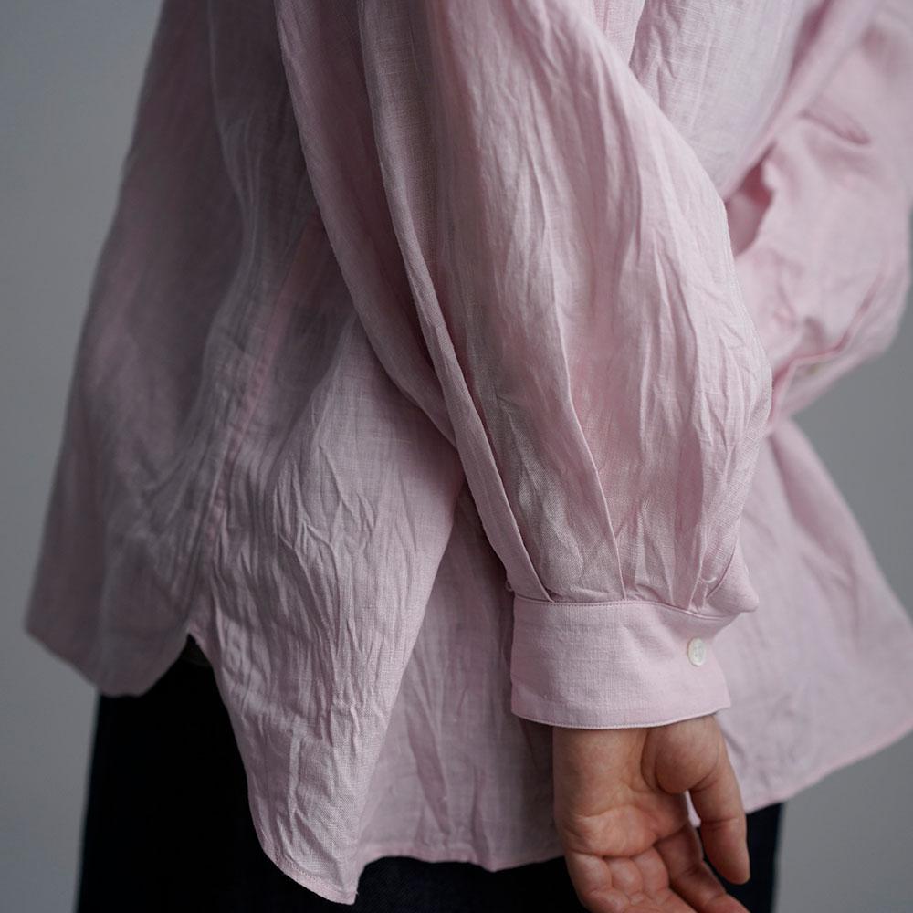 【wafu】 雅亜麻 linen shirt リネンシャツ 薄地 60番手 ハンドワッシャー 桜色(さくらいろ) t034a-sak1