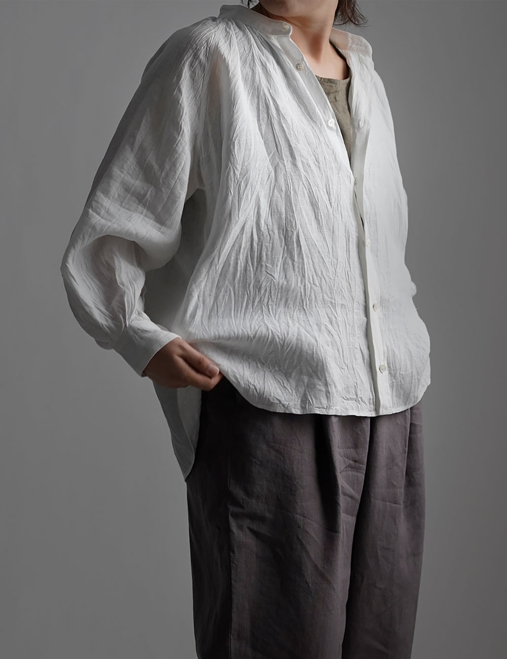 雅亜麻 linen shirt リネンシャツ 60番手 ハンドワッシャー / 白色 t034a-sak1