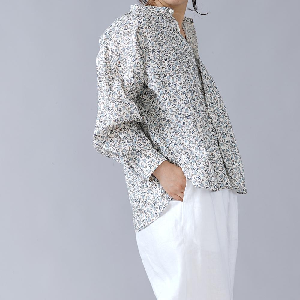 【5着限定!受注販売】リバティ フランダースリネン スタンドカラー シャツ やや薄地 /ハンナ・フエイ t034d-hnf1