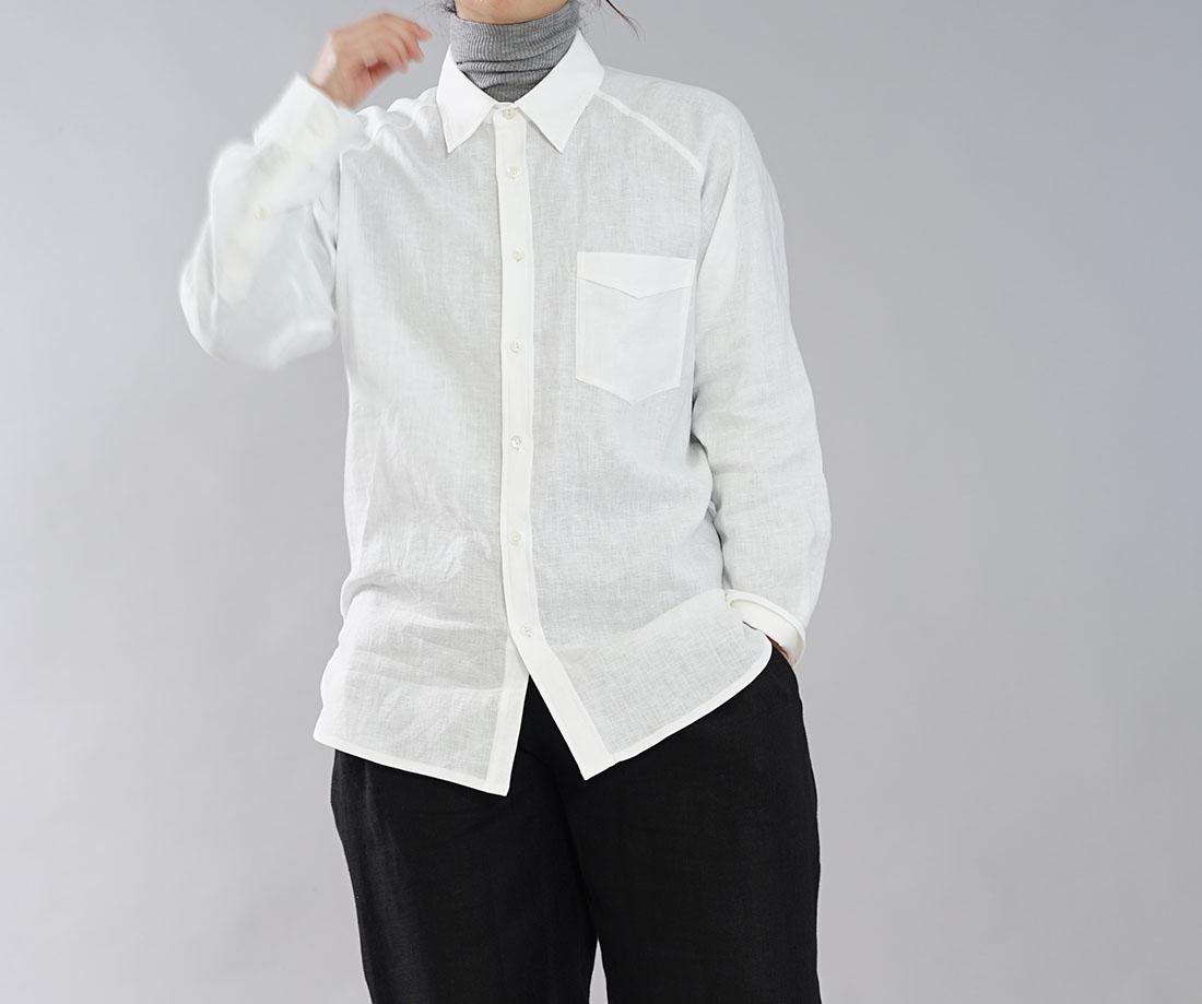 【wafu】薄手 雅亜麻 リネン メンズ シャツ ラグランスリーブ 剣ボロ 本格作り 手付けボタン 長袖 トップス メンズライク / 白色【free】t035a-wht1