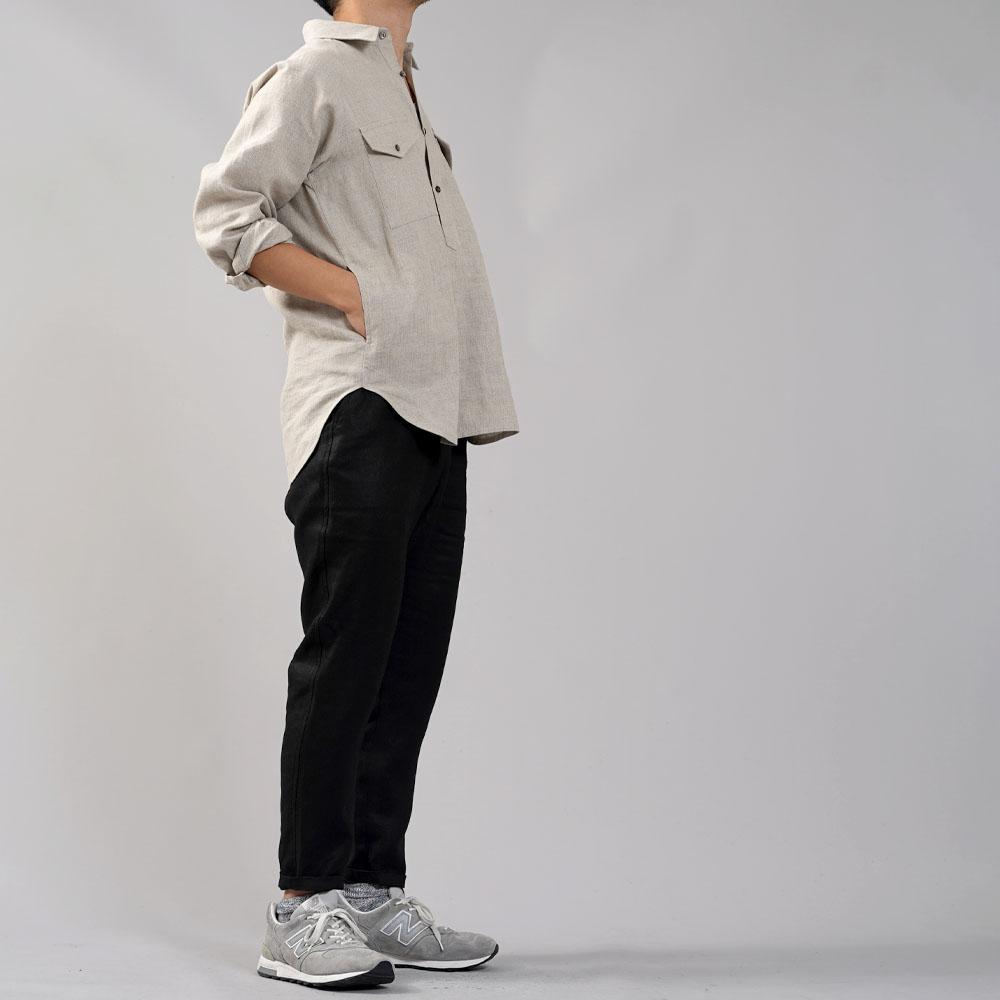 中厚 リネン プルオーバーシャツ ラグランスリーブシャツ 両脇ポケット仕様 男女兼用/亜麻ナチュラル【M-L】t035f-amn2-m