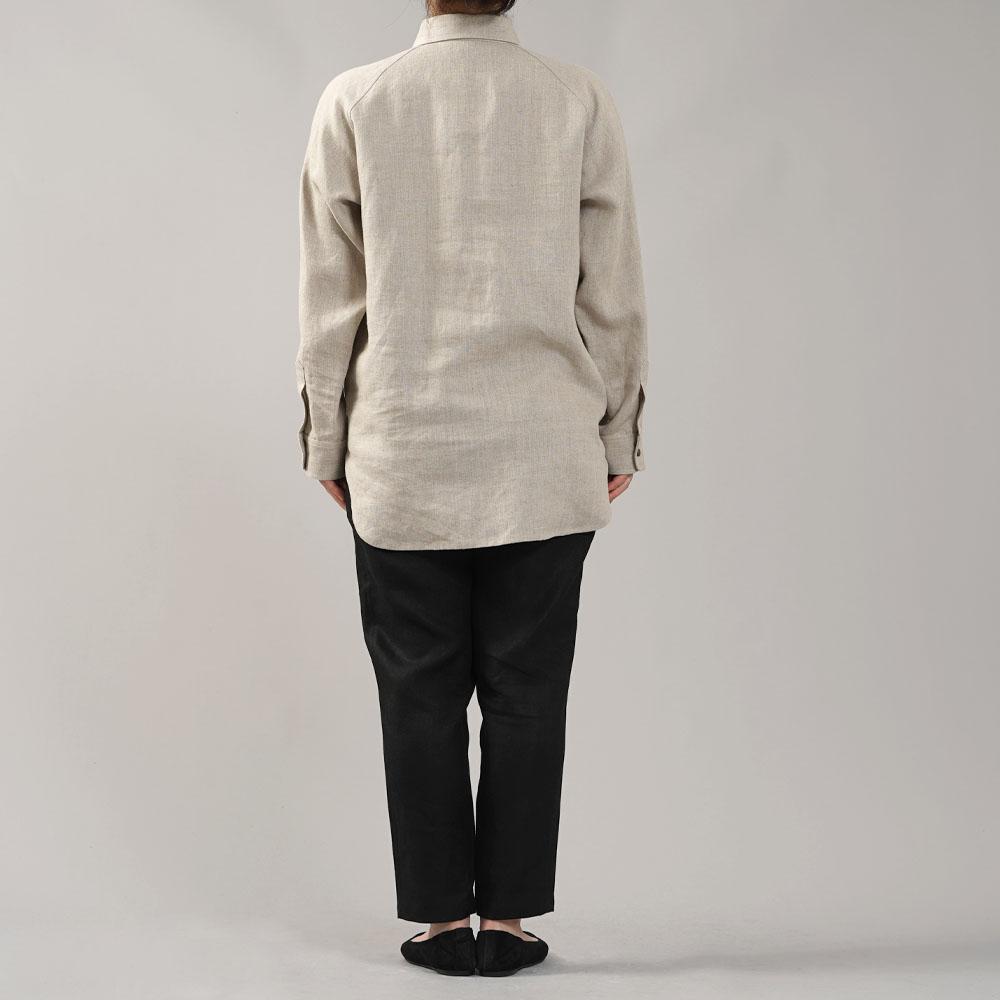 中厚 リネン プルオーバーシャツ ラグランスリーブシャツ 両脇ポケット仕様 男女兼用/亜麻ナチュラル【M-L】t035f-amn2-w