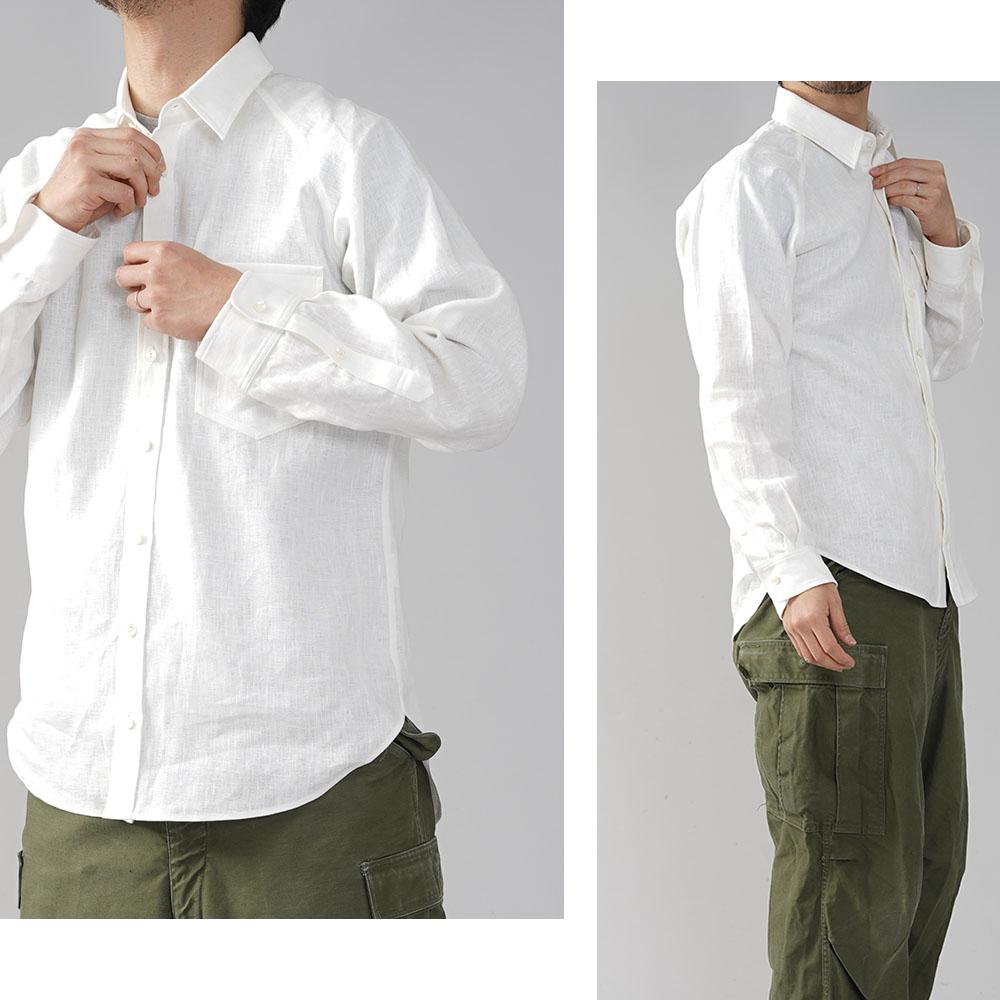 メンズ 中厚地 リネン ラグラン シャツ 長袖 フラップポケット付き 胸ポケット メンズライク 前ボタン カフス袖 シェルボタン 白シャツ/ホワイト【M/L】t035h-wht2