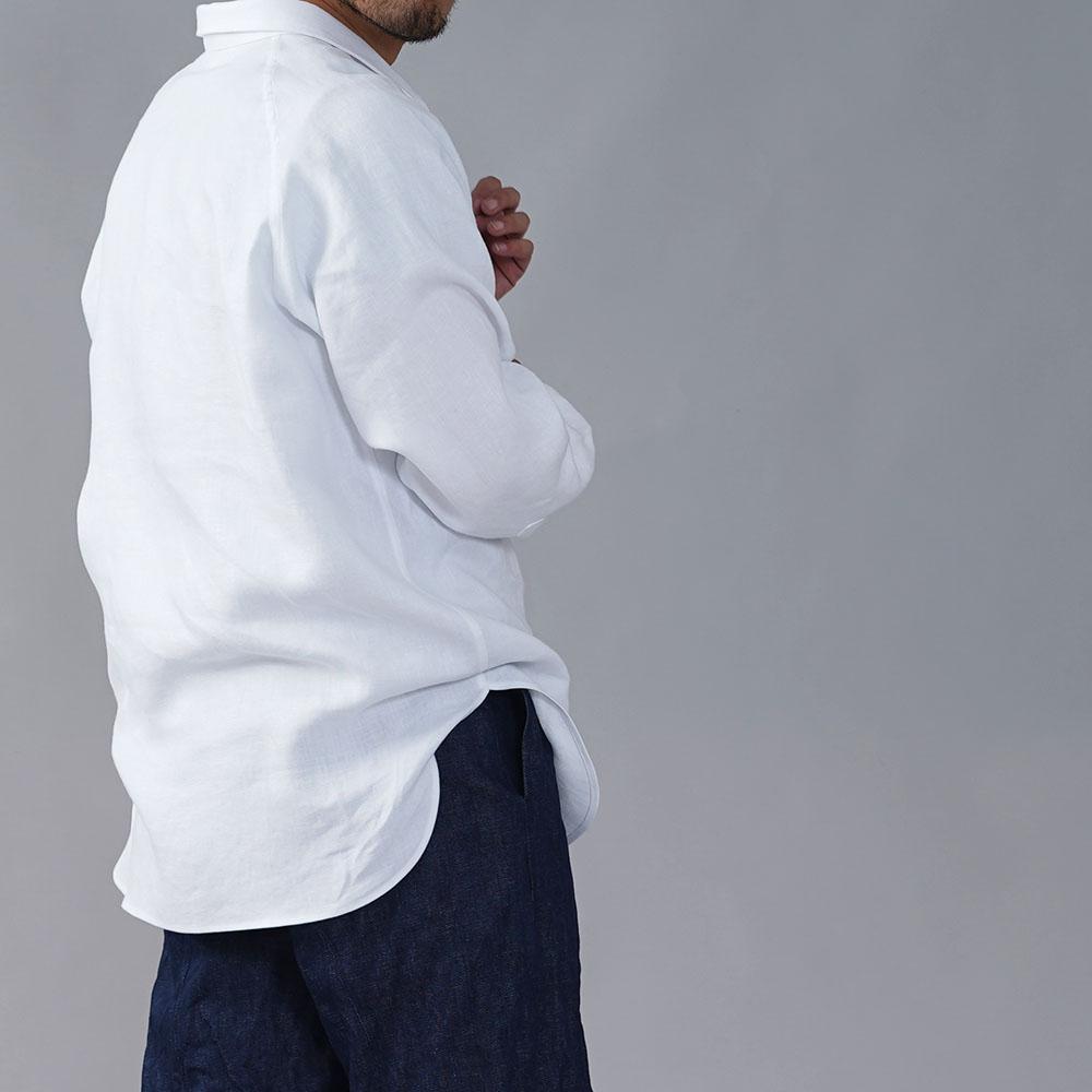 リネンシャツ メンズ仕様 wafu史上最高のリネン生地で仕立てたメンズシャツ 北フランス産 最上質リネン100%ツイル 国内織り/ホワイト【M L LL】t035i-wht2