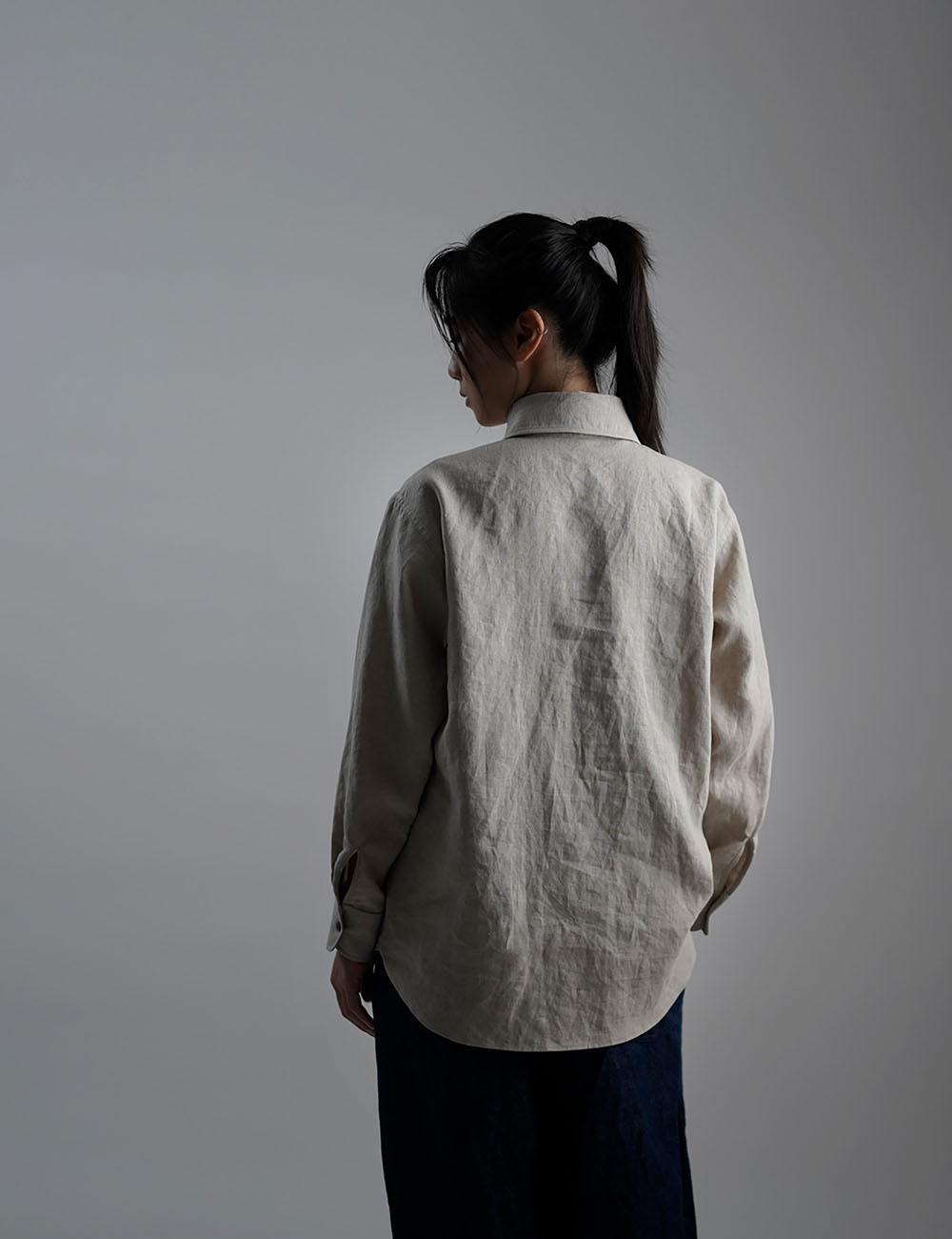【wafu】Linen Shirt ショールカラー ブラウス /亜麻ナチュラル t036b-amn1