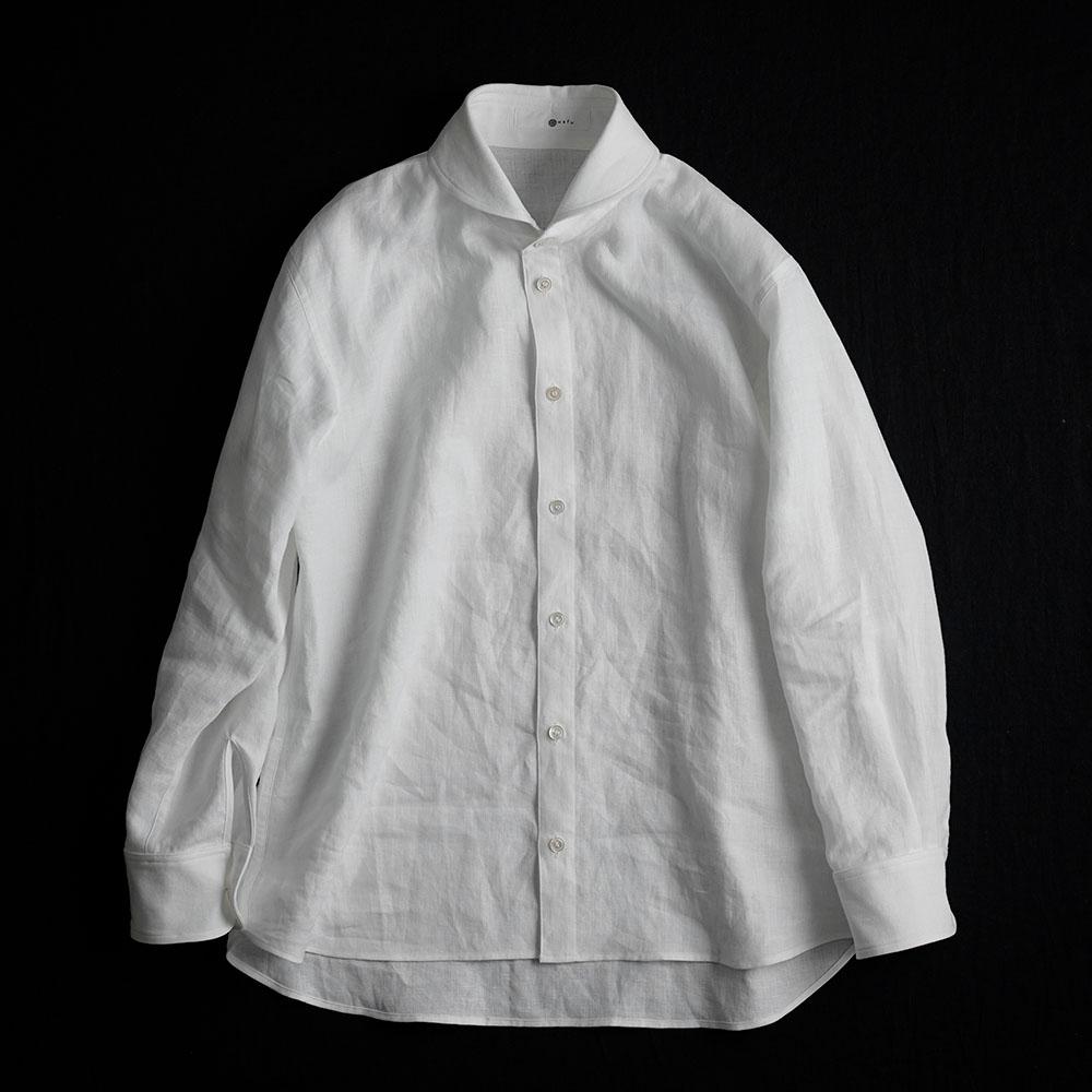 【wafu】linen Shirt ショールカラーシャツ /白色 t036b-wht1