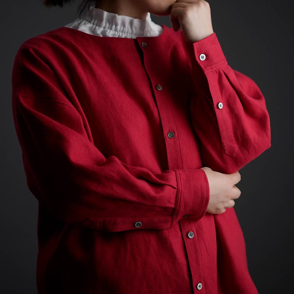 【10月9日21時~販売開始】wafu Premium Linen 起毛 ノーカラーシャツジャケット / クリストローゼ t036c-ctr3