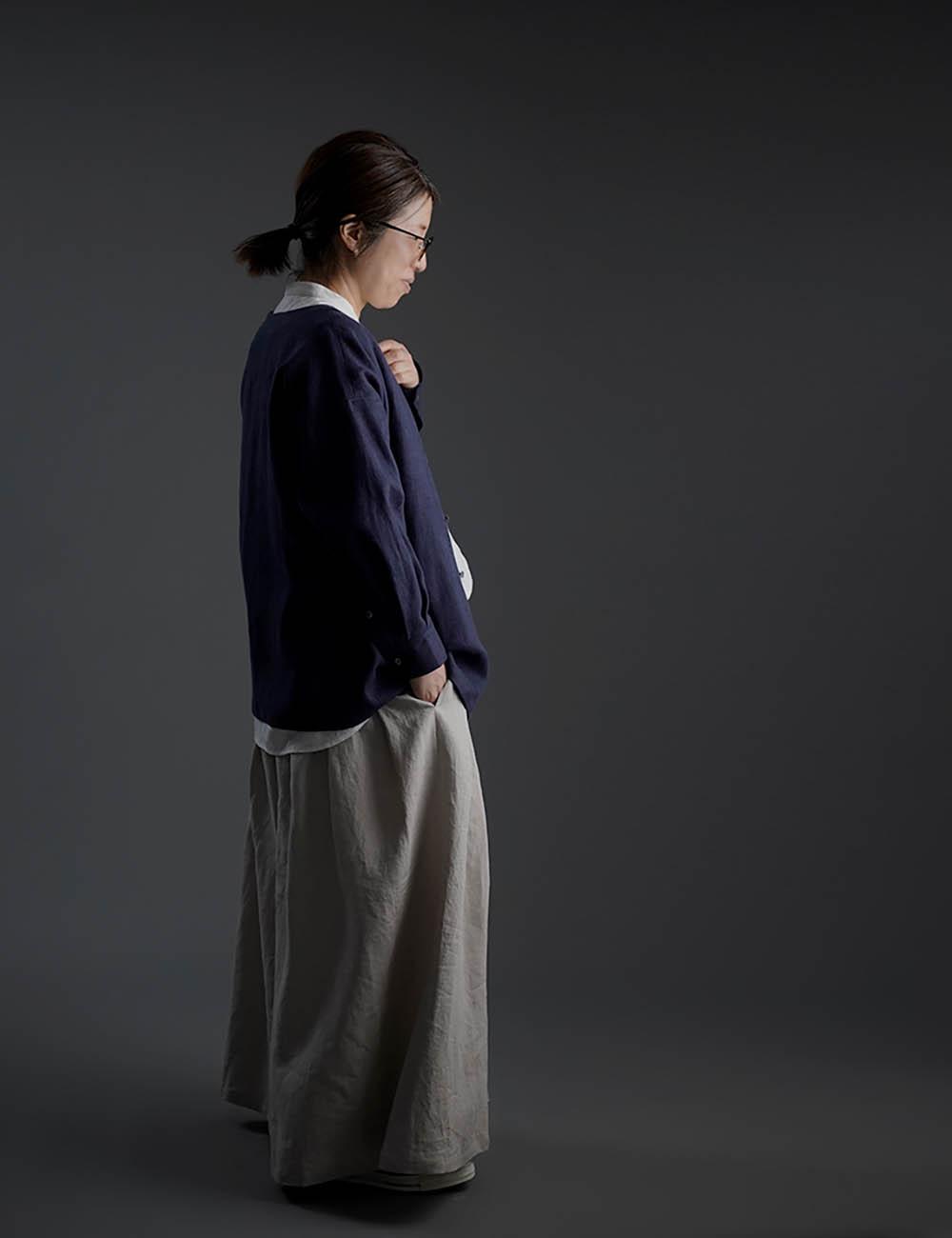【10月9日21時~販売開始】wafu Premium Linen 起毛 ノーカラーシャツジャケット / ネイビー t036c-neb3