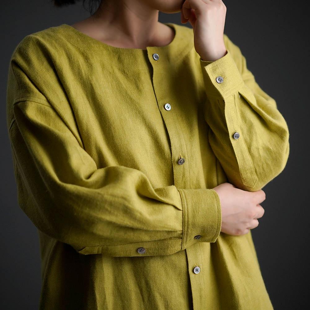 【10月9日21時~販売開始】wafu Premium Linen 起毛 ノーカラーシャツジャケット / シャトルーズグリーン t036c-sgn3
