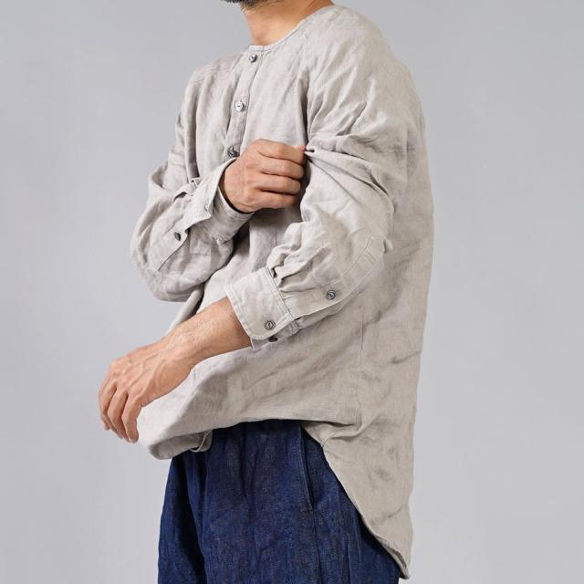【wafu】中厚地 リネンシャツ ラグラントップス ヘンリーネック ラグランスリーブ タック カフス袖 長袖/ブラック【free】t038e-asp2-m