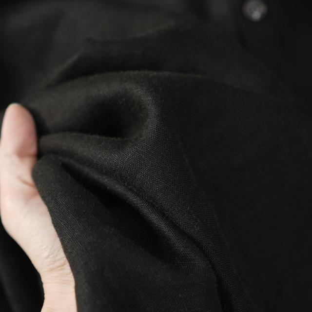 男女兼用 中厚地 リネンシャツ ラグラントップス ヘンリーネック ラグランスリーブ タック カフス袖 長袖 メンズ/ブラック【free】t038e-bck2