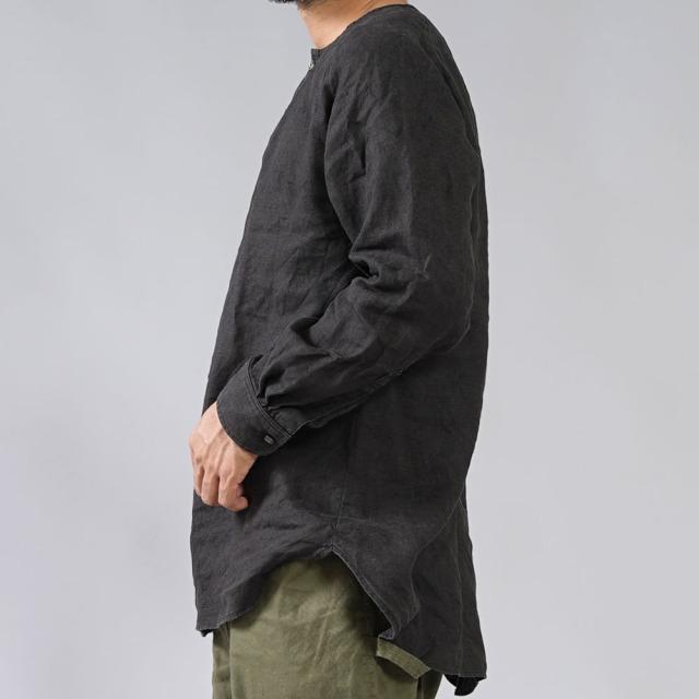 【wafu】中厚地 リネンシャツ ラグラントップス ヘンリーネック ラグランスリーブ タック カフス袖 長袖 メンズ/ブラック【free】t038e-bck2-m