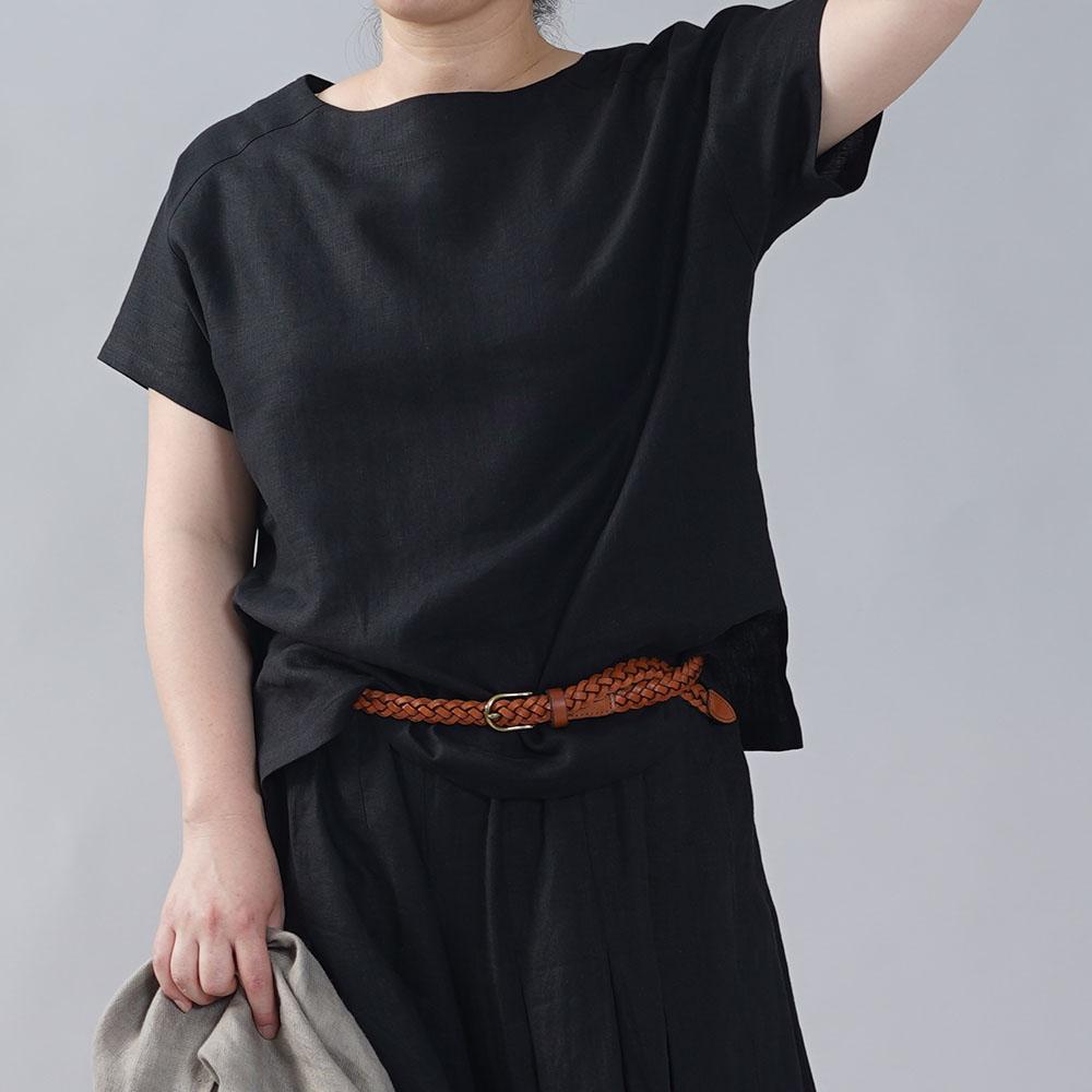やや薄地 リネン Tシャツ リネンブラウス リネントップス リネンTshirt 男女兼用 ユニセックス 半袖 丸首 クルーネック ラグラン Tシャツ/ブラック【M-L】t038f-bck1