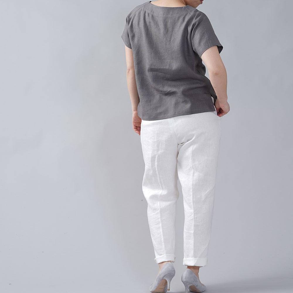 やや薄地 リネン Tシャツ リネンブラウス リネントップス リネンTshirt 男女兼用 ユニセックス 半袖 丸首 クルーネック ラグラン Tシャツ/鈍色(にびいろ)【M-L】t038f-nib1