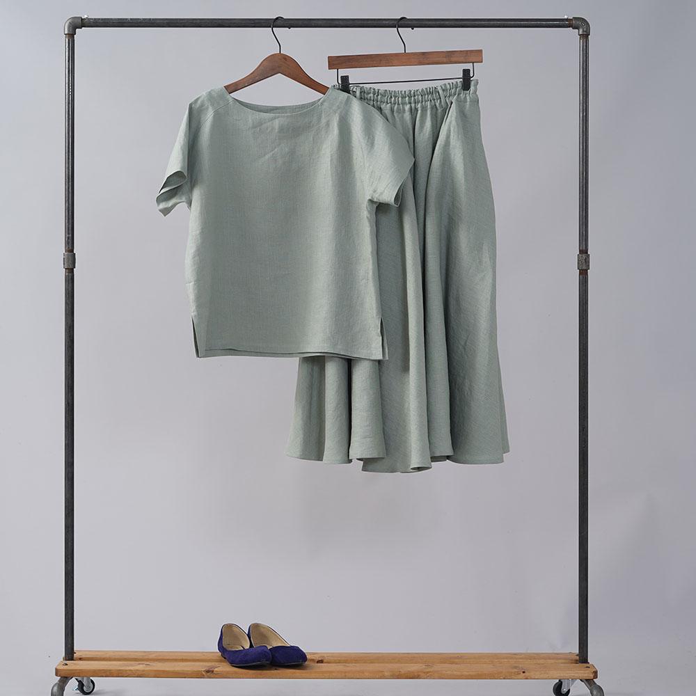 やや薄地 リネン Tシャツ リネンブラウス リネントップス リネンTshirt 男女兼用 ユニセックス 半袖 丸首 クルーネック ラグラン Tシャツ/青磁鼠(せいじねず)【M-L】t038f-snz1