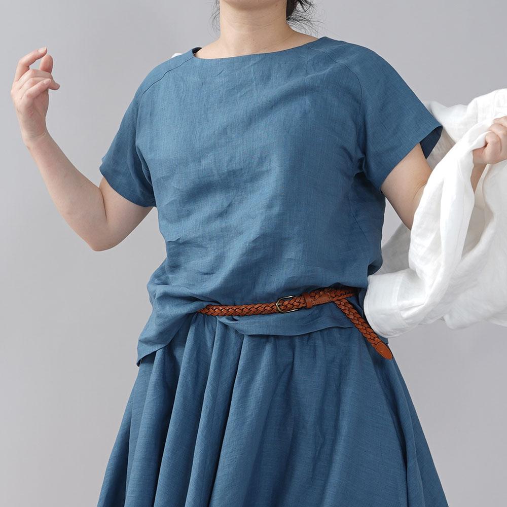 やや薄地 リネン Tシャツ リネンブラウス リネントップス リネンTshirt 男女兼用 ユニセックス 半袖 丸首 クルーネック ラグラン Tシャツ/薄縹(うすはなだ)【M-L】t038f-ush1