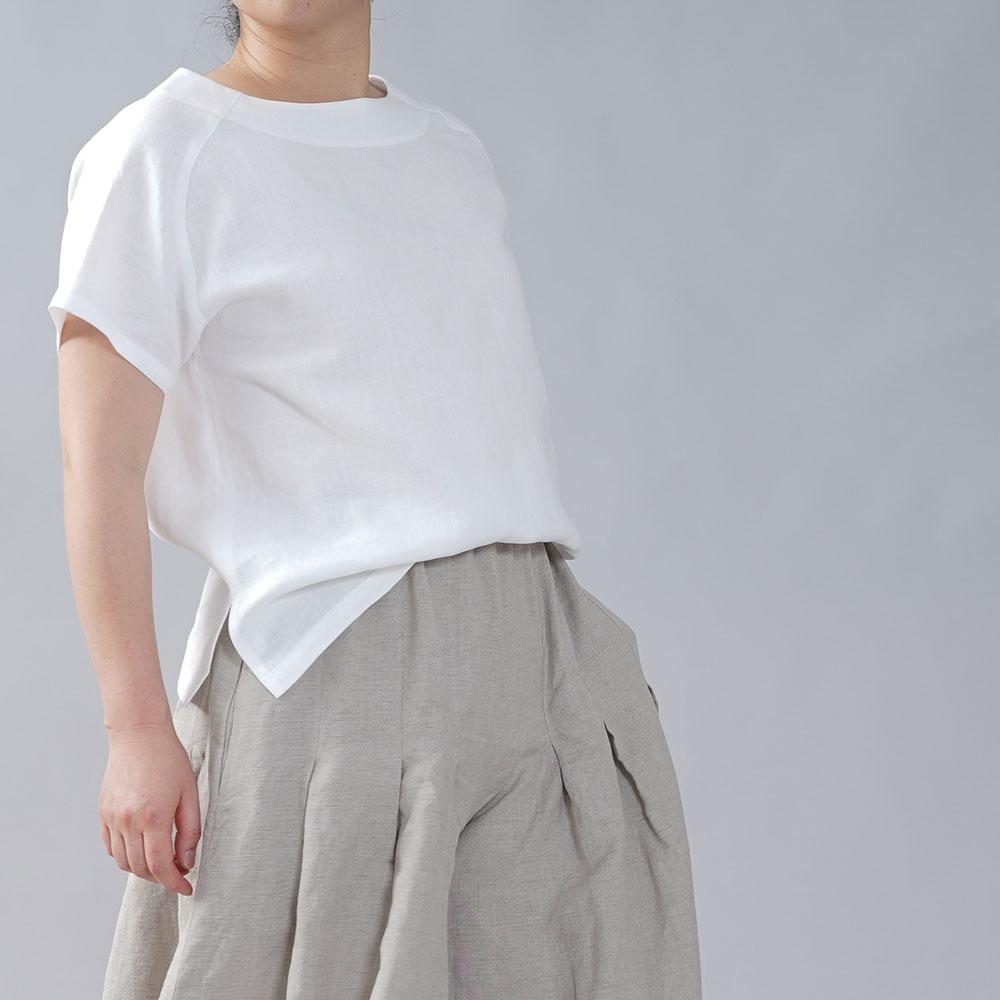 やや薄地 リネン Tシャツ リネンブラウス リネントップス リネンTshirt 男女兼用 ユニセックス 半袖 丸首 クルーネック ラグラン Tシャツ/ホワイト【M-L】t038f-wht1