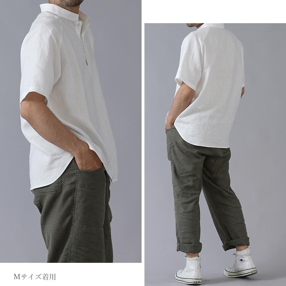 【5/24 21時~販売開始】【wafu】自分用に3枚いきます。リネンスタンドカラーシャツトップス 半袖 男女兼用 やや薄地 /ホワイト t038g-wht1