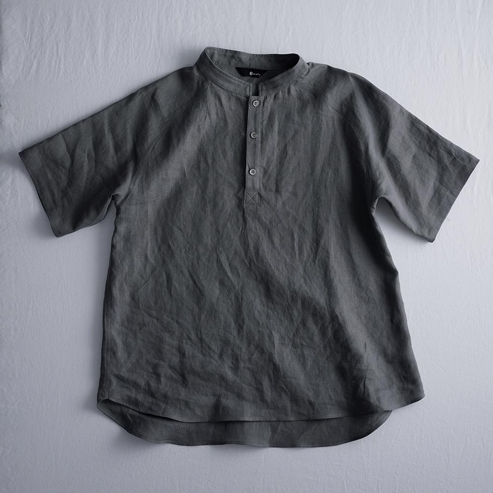 【wafu】【半袖】自分用に3枚いきます。リネンスタンドカラーシャツトップス 男女兼用 やや薄地/亜麻ナチュラル t038k-nib1