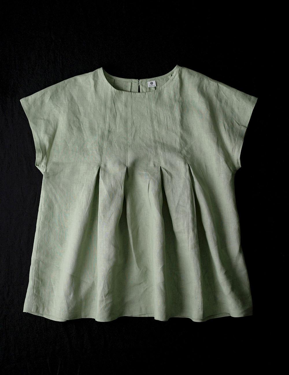 【wafu】雅亜麻 Double-pleated blouse 2重ヒダのリネンブラウス 薄地 / 萌黄(もえぎ) t039a-meg1