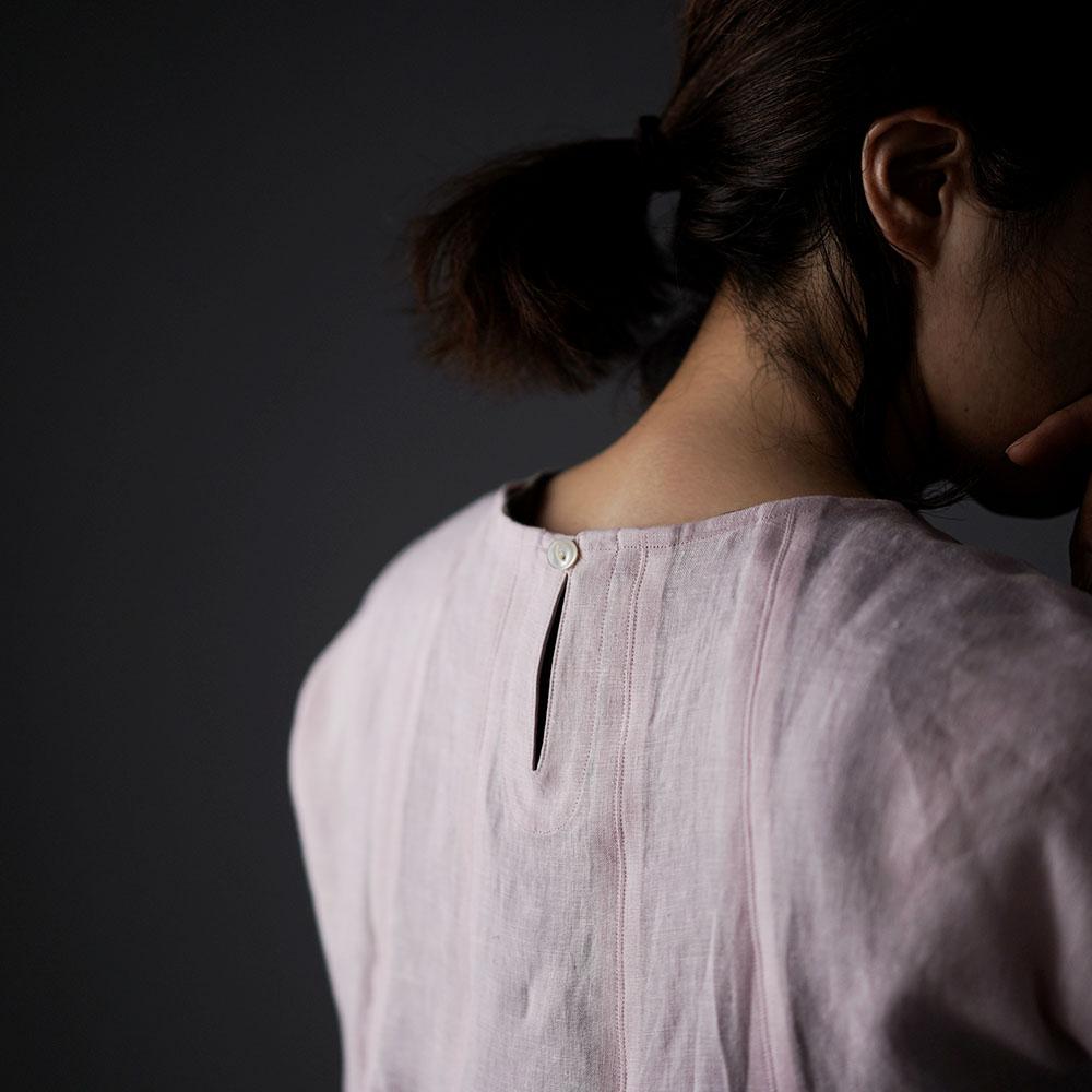 【wafu】雅亜麻 Double-pleated blouse 2重ヒダのリネンブラウス 薄地 / 桜色(さくらいろ) t039a-sak1