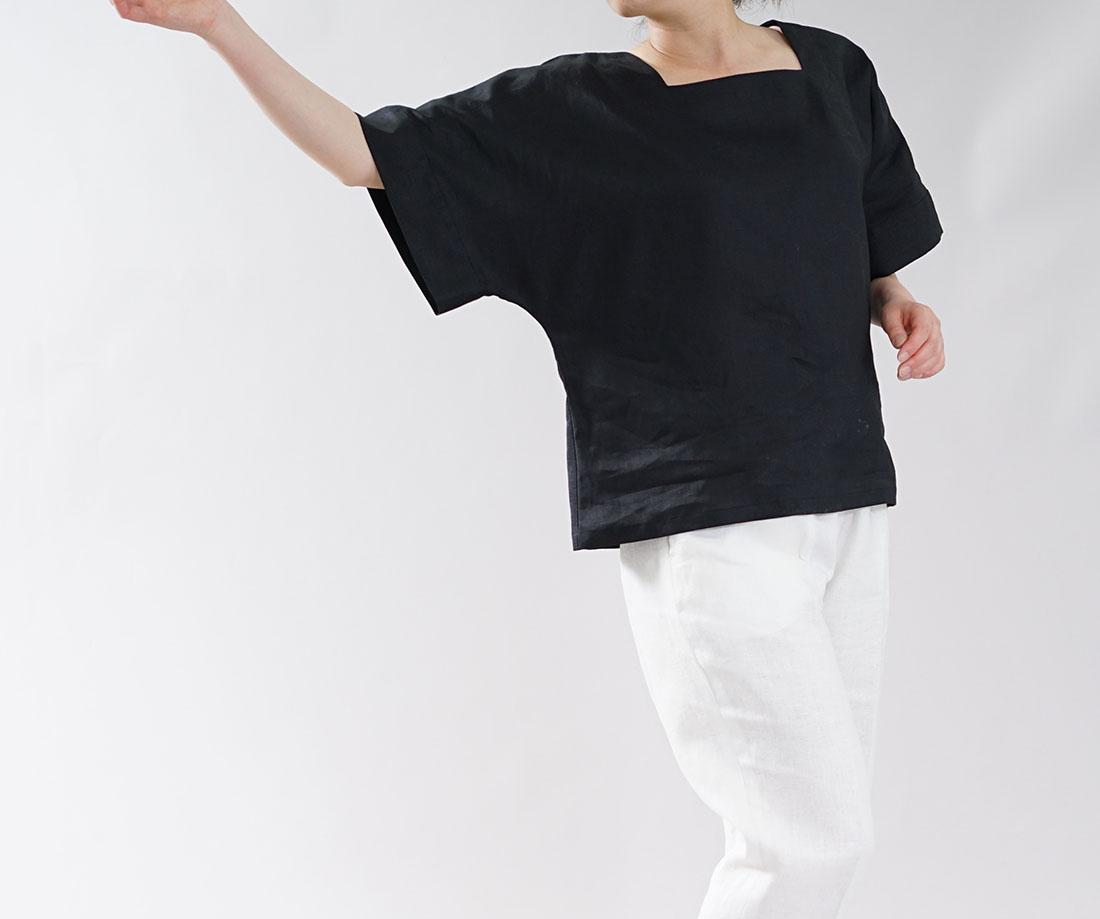 【wafu】薄地 リネン ブラウス ざっくり スクウェアネック ドルマンスリーブ 鎖骨みせトップス / ブラック【 free 】t040a-bck1