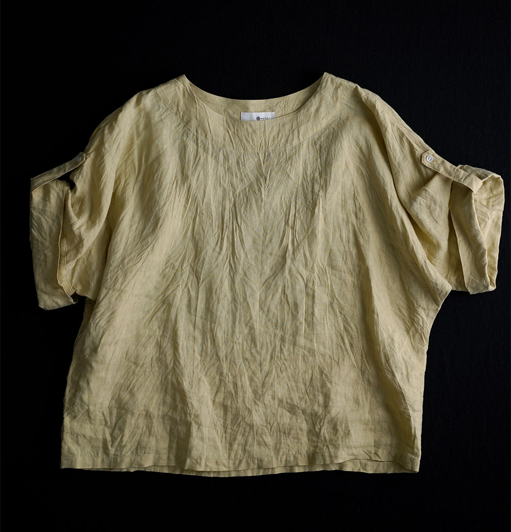 【wafu】雅亜麻 Linen blouse リネンブラウス ハンドワッシャー やや薄手 /金糸雀色(かなりあいろ) t041a-kai1